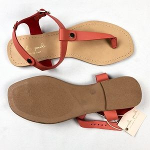 NEW Mila Paoli Leather Coral Salmon Sandals 8.5